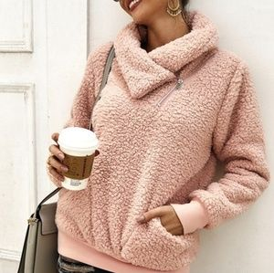IN STOCK Blush Zippered Collar Faux Fur Pullover